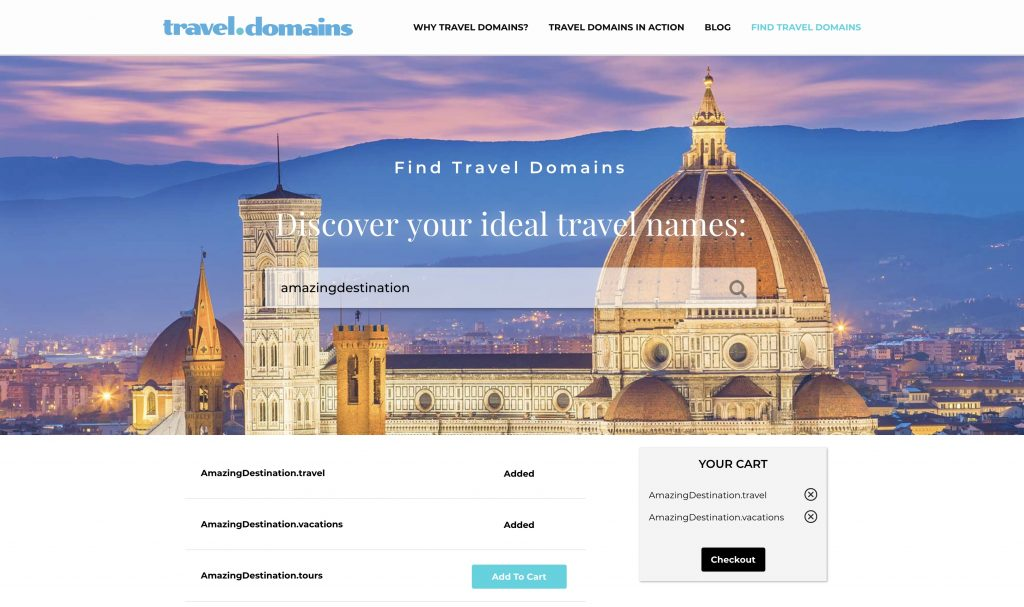 relevant name search on travel domains