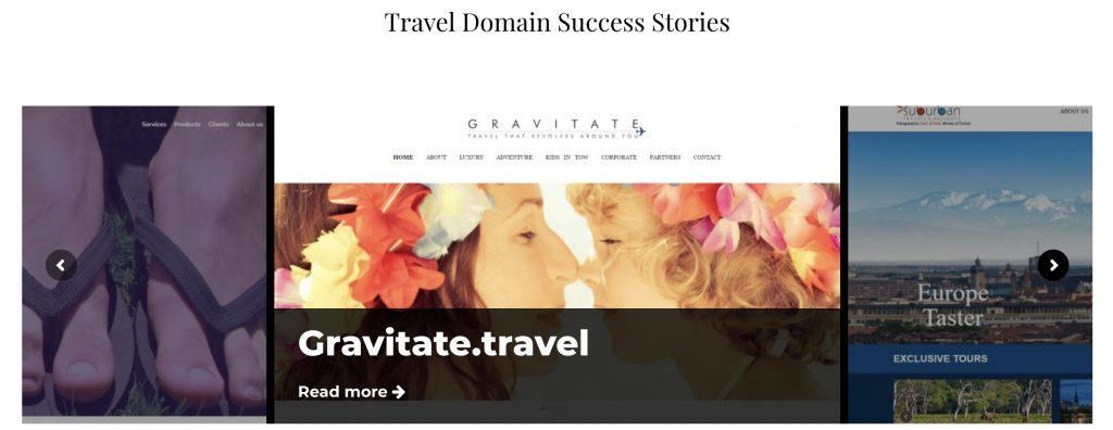 This page displays successful case studies for using travel domain extensions domain names top-level domains