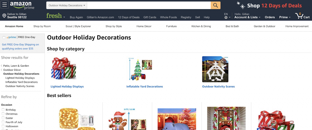 amazon holiday decorations category