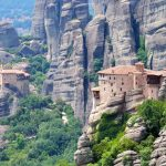 meteora cliffs and buildings